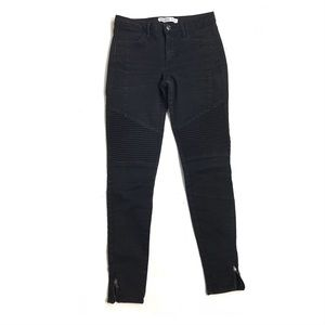 Zara jeans ankle zipper black moto textured skinny
